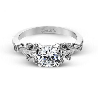 Simon G TR667 Platinum Round Cut Engagement Ring