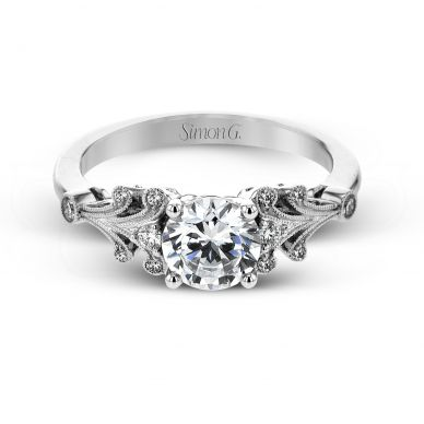 Simon G TR667 White Gold Round Cut Engagement Ring