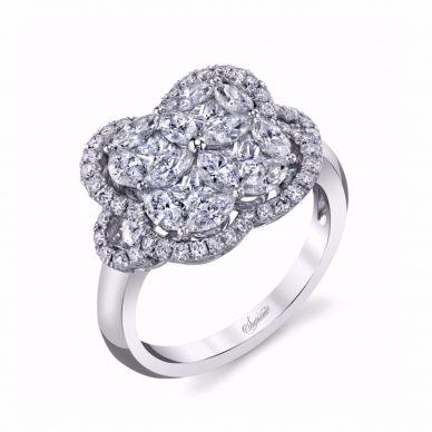 Floral diamond right hand ring SJU2144R