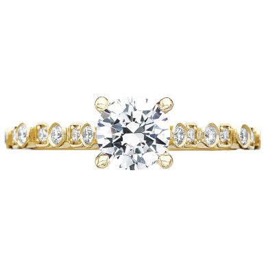201-2RD55Y Sculpted Crescent Yellow Gold Round Engagement Ring