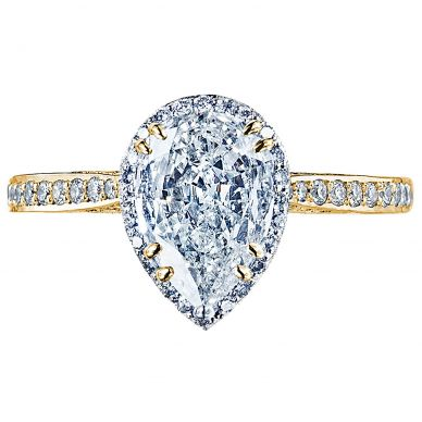 2620PS8X5P-Y Dantela Yellow Gold Pear Shaped Engagement Ring