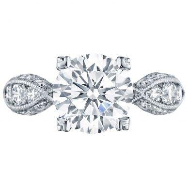 2644RD934 Classic Crescent Platinum Round Engagement Ring