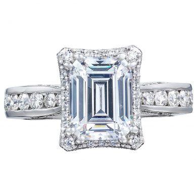 2646-35EC85X65 Dantela Platinum Emerald Cut Engagement Ring