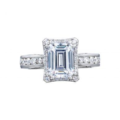 Tacori 2646-35EC85X65 Dantela Platinum Emerald Cut Engagement Ring