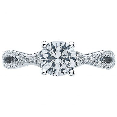 3004-W Ribbon White Gold Round Engagement Ring