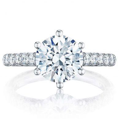 HT254625RD9 Petite Crescent Platinum Round Engagement Ring