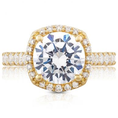 HT254725CU9Y Petite Crescent Yellow Gold Round Engagement Ring