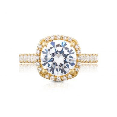 Tacori HT254725CU9Y Petite Crescent Yellow Gold Round Engagement Ring
