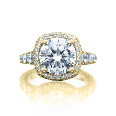 Tacori HT2624CU95-Y RoyalT Yellow Gold Round Engagement Ring