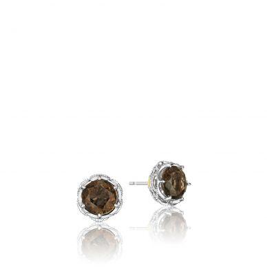 SE10517 Color Medley Silver Smokey Quartz Stud Earrings for Women