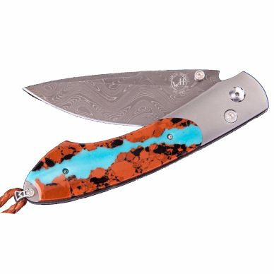 William Henry folding knife with turquoise and lava rock
