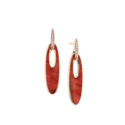 Kabana GECF437SR Yellow Gold Diamond & Red Spiny Oyster Earrings