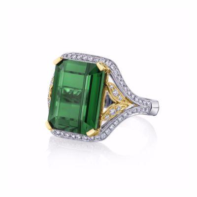 Emerald cut tourmaline cocktail ring SJU2102R
