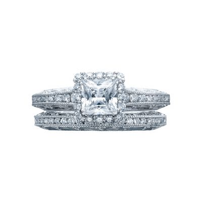 Tacori 2618PR White Gold Princess Cut Vintage Halo Engagement Ring set