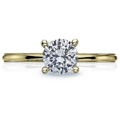 40-15RD6-Y Sculpted Crescent Yellow Gold Round Engagement Ring