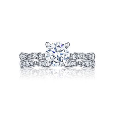 Tacori 46-2RD White Gold Round Simple Engagement Ring set