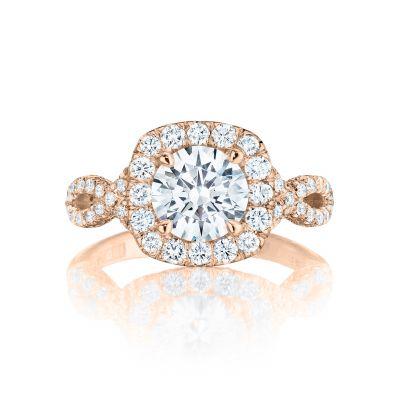 Tacori HT2549CU65PK Petite Crescent Rose Gold Round Engagement Ring