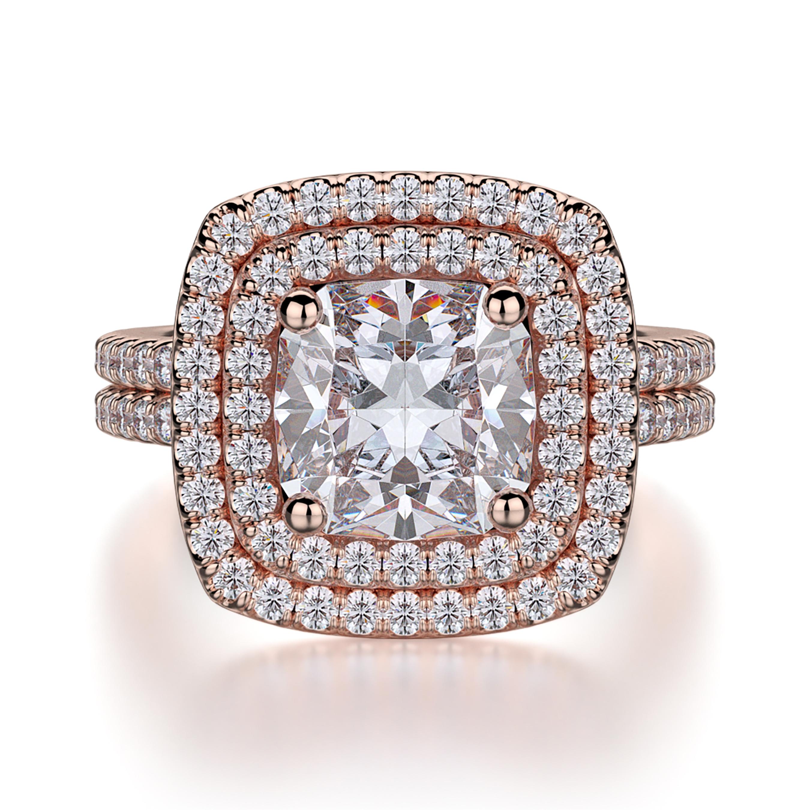 Michael M R560 2 Europa Rose Gold Cushion Cut Engagement Ring